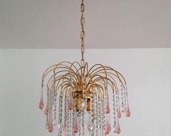 "Crystal chandelier ""drops"" Murano glass - pink - circa 1980"