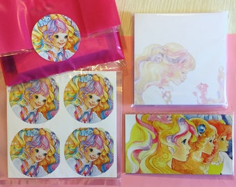 Lady Lovely Locks Stationery Set (Magnet, Stickers and Post-Its) 1980s cartoon Lady Lovelylocks and the Pixie Tails