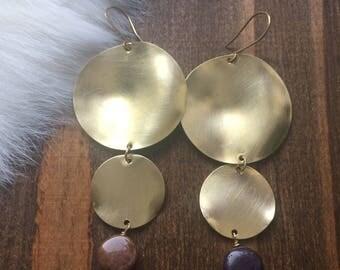Wavy Brass Disc Lepidolite Earrings