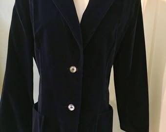Vintage Koret Blue Velvet Blazer