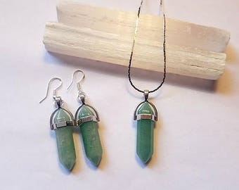 Green Aventurine Crystal Stone Necklace & Earring Set Silver Plated