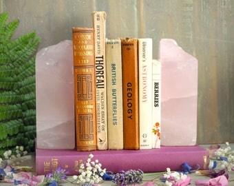 Pair of Rose Quartz Bookends, Rough Quartz Book End, Raw Quartz Bookends, Crystal Bookend