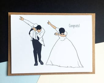 dabb dance. wedding congratulations card - dab dance couple funny dabb \
