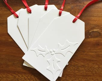 Hand made Embossed Christmas/Holiday Gift Tags. Large Tags with Holly pattern, Red Ribbon (5 tags). GT09