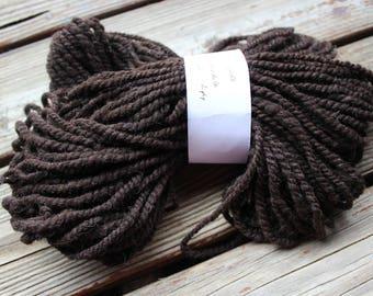 Natural dark brown corriedale wool handspun 2 ply worsted weight yarn - 70 yards