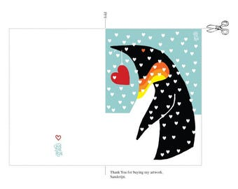 Printable postcard / Penguin postcard / gift for love / Valentine card / Penguin