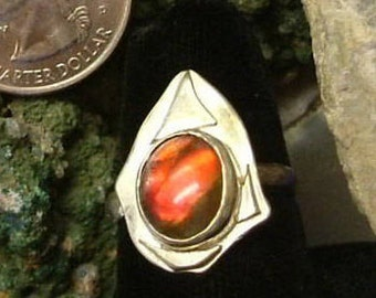 Ammolite Ring Sterling Silver Size 8  Large Utah Gem Fossil Statement Ring Statement Jewelry Red Fire OOAK 223G