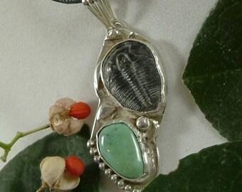 Trilobite Variquoise Mens Necklace Sterling Silver Large Natural Fossil Gem Green Black  Adjustable Cord Necklace Multiple Stones  251 G