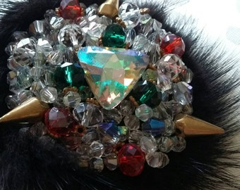 Brooch with natural fur and Swarovski beads