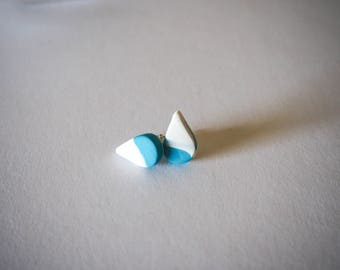 Blue and White Stud Earrings made with polymer clay.