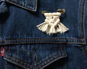 "Macrame Pin 2"" Gold | Brooch | Safety Pin"