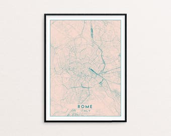 Rome Blush Pink City Map Print, Clean Contemporary poster fit for Ikea frame 50x70cm, gift art him her, Anniversary personalized