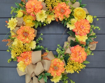 Summer Wreath/Front Door Wreath/Grapevine Wreath/ Country Wreath/ Shabby Chic Wreath/ Orange Wreath/ Yellow Wreath