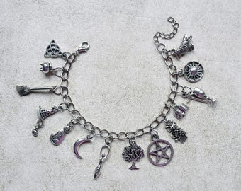 bracelet charms silver wicca celtic pagan esoteric occult gothic witch witchcraft spiral goddess sun moon pentagram triquetra athame crow