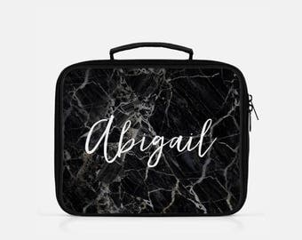 Black Marble Lunch Box, Monogram Lunch Box, Personalized Lunch Box, Black Lunch Box, Custom Name Lunch Bag,  Marble Print Lunch Box