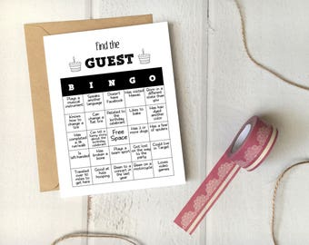 "Birthday Party Game ""Find the Guest Bingo"" Printable Template / 5x7 Card / Editable Instant Download / Funny Icebreaker for Adults/Teens"