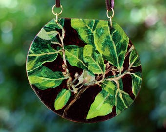 june blooming branch round pendant - original painting necklace