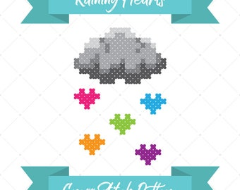 Raining Hearts, Cross Stitch Pattern, Rainbow Hearts, Rain Cloud, DIY Pattern, Kid's Craft, Anniversary Gift, Nursery Decor, Easy Craft