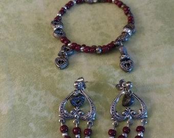 Affordable homemade bracelets and earring set