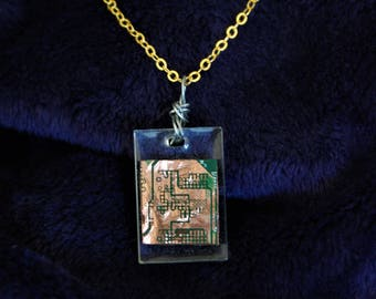 Double Sided Upcycled Circuit Board Resin Necklace
