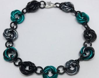 Teal mobius flower bracelet
