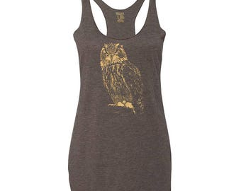 Racerback Owl Tank Top, 10% Donated to Animal Causes, Owl Gift
