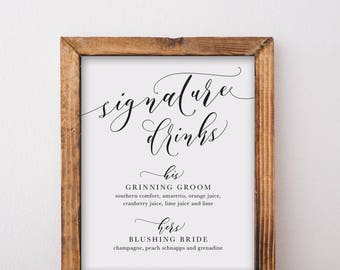 Bride And Groom's Signature Drink Sign 2 - Wedding Bar Sign Printable