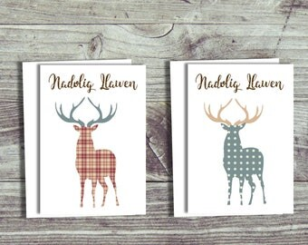 Pack of Welsh Christmas Cards, 6 or 12 pack, Multipack of Cards, Stags, Reindeer