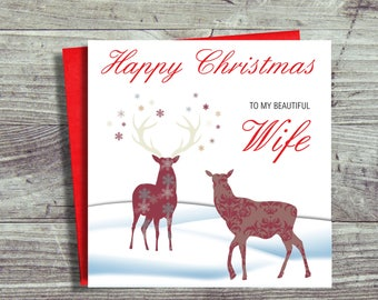 Christmas Card For Wife, Girlfriend, Wife Christmas Card, Happy Christmas to my Beautiful Wife