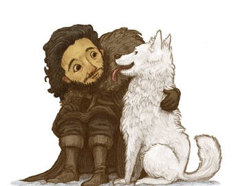 Jon Snow Art Print, Game of Thrones Art, Game of Thrones Gift, Game of Thrones Print, Game of Thrones Nursery, Game of Thrones