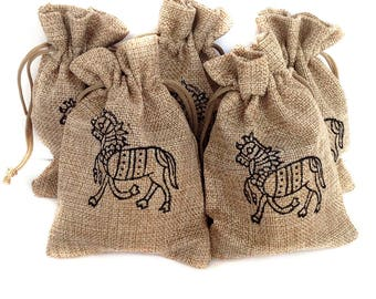 Gift pouch Jute Bag Horse gifts Drawstring pouch Hessian Favor gift bags Hessian pouch Drawstring bag Burlap favour bags Jute gift bags