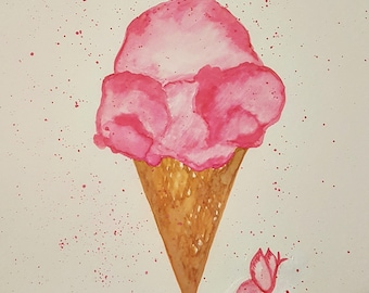 Watercolor Painting: I love Ice Cream