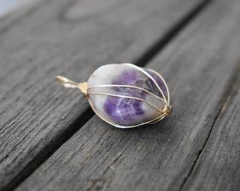 Mixed natural stones - Amethyst - silver plated wire