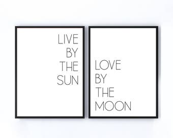 Live by the Sun Love by the Moon,  Moon and Sun Print, Yoga Print, Yoga Art,  11x14 Home Decor Poster Sign, New Home Gift, Housewarming Gift