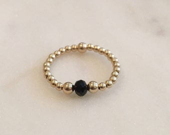 14K gold filled stackable beaded ring - offered in gold, rose gold, and sterling silver