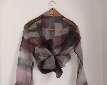 Silk crop, shirt, top, jacket, cardigan