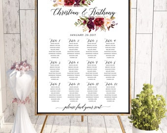 Wedding Seating Chart, Wedding seating template, Navy seating chart, Seating chart, seating chart poster, seating chart alphabet, #124