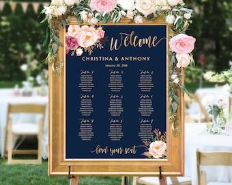 Printable wedding seating chart, Wedding seating chart, wedding seating chart poster, seating chart template, Navy seating chart, SC #142B