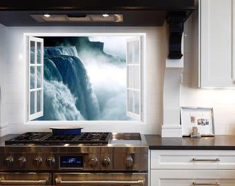 Waterfall Wall Prints, Fake Window Art, Bathroom Waterfall Decal, Printable  Water Art,