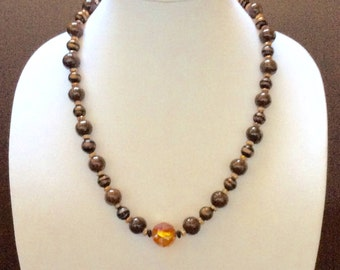 Brown and rose gold beaded necklace women's fashion jewelry