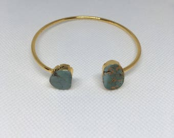 Turquoise Bangle Bracelet/Unique Turquoise Bracelet/Unique Turquoise Jewelry/Gold Plated Turquoise Bangle/Valentines Day Gift/Girlfriend Gif