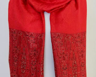 Soft Pashmina Scarf in Bright Red + Black Paisley Motif Pattern
