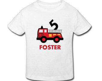 Fire Truck Birthday Shirt - Personalized Birthday T- shirtBirthday// 1st, 2nd, 3rd, 4th, 5th Birthday - Fast Shipping!