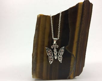 Sterling Silver Butterfly Necklace, Moving butterfly necklace, silver butterfly , butterfly, filigree butterfly