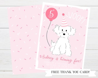 Pink Poodle Birthday Party Invitation
