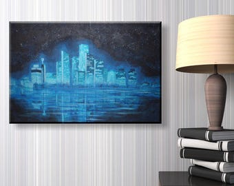 Modern acrylic canvas - shimmering skyline 40 x 60 cm - Turquoise Silver