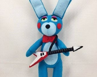 Toy Bonnie Plushie/plushies/Gamer plushies/FNAF/soft toys/handmade/anime characters/unique gifts/made in USA/felt/custom dolls/horror dolls