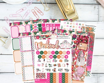 Rose Full Weekly Kit/ Planner Stickers/ ECLP