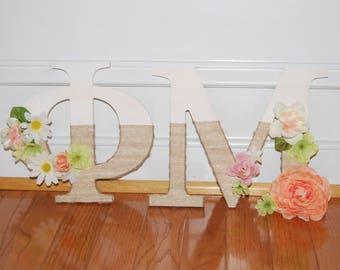 Burlap Wrapped Flower Sorority Letters