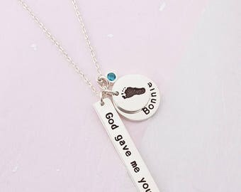 Necklace for New Mom - God Gave Me You Necklace - Baby Name Necklace - Birthstone Necklace for Mom - New Mom Necklace - Baby Shower Gift